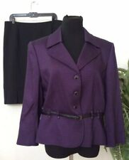 d9b20eff036 New ListingTahari Women's Purple Black 100% Polyester 2 Piece Belted Skirt  Suit Sz 14 EUC!