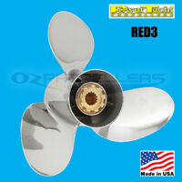 13 1/4 x 12 Honda 60-130hp Propeller Stainless Steel 3 Blade Prop Power Tech RED