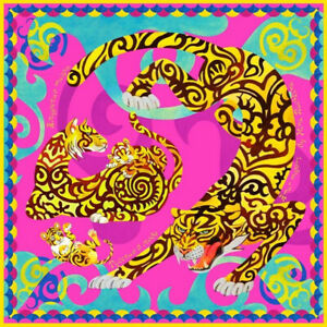 "35x35"" Russian Amur Tigers Pink Silk Shawl Scarf by Nina Ruchkina"