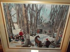 OLD VINTAGE PAINTING MAKING MAPLE SUGAR ORIGINAL BY DOROTHY CORMIER OUTDOOR