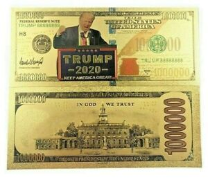 Colored Gold Trump 2020 1 million novelty Banknotes