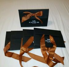 """Lot of 5, COACH Black Paper Gift Box/Bag with Brown Bow 10.5"""" x 3.5"""" x 7"""""""