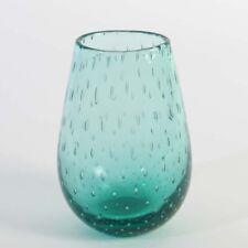 Alte Murano Glas Vase Blasen a bullicine grün um 1950-60 oval gedrückte Form