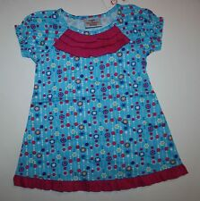 NEW Hanna Andersson Blue with Pink Ruffle & Print Dress Size 80 cm 10-24m NWT