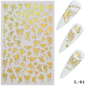 3D Laser Gold Butterfly Nail Stickers DIY Nail Art Decorations Nail Transfer