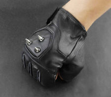 Men Punk Rocker Driving Motorcycle Rivet Real Leather Fingerless Gloves party