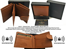 💳 Next Signature Black Label Mens Italian Leather Wallet RFID Card Protect Cash
