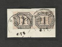 "GERMANY NORTH CONFEDERATION Yv# OFF 4 USED Pair on fragment ""Hanau"" cancel"