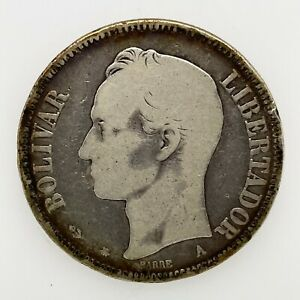 Key Date: 1876 A VENEZUELA 5 BOLIVARES (25 GRAM) .900 Silver  Coin Y#16  Scares