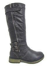 New Womens Black Rustic Ashy Riding Knee High Cowboy Low Heel Boots Sz 6-10