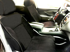 2 Black Suede Leather Front Car Seat Covers for Chevrolet #805