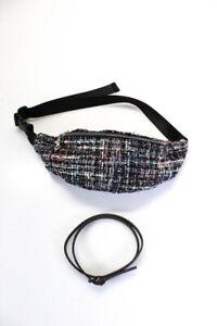 Fendi Aqua Womens Tweed Waist Pack Handbag Black Pink Brown Size 42 LOT 2