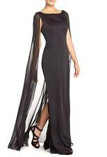 8 ADRIANNA PAPELL Black Satin Crepe Chiffon Cape Column Gown Dress NWT $189