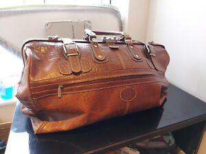 KERVAN Leather Weekender Bag - Doctors Bag - Tan Leather - 1995