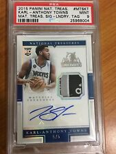 2015-16 KARL ANTHONY TOWNS PSA 9 AUTO NATIONAL TREASURES LAUNDRY TAG 5/5