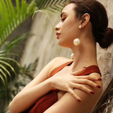 2Pcs Gold Silver Plated Women Geomertic Dangle Drop Big Circle Ear Stud Earrings