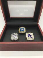 3 Pcs Kansas City Royals World Series Championship Ring With Wooden Display Box