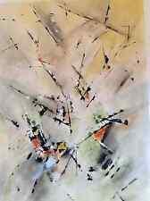 Technique mixte aquarelle gouache abstrait signé Jean Maurel (1936-?) Abstrait