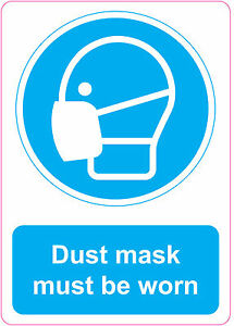 DUST MASK MUST BE WORN health and safety signs stickers warning danger 205x290mm