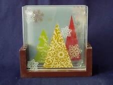 Square Glass Coaster Set Stacking Wood Holder Christmas Tree Snowflake Holiday
