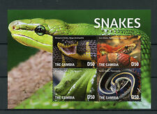 Gambia 2015 MNH Snakes 4v M/S Reptiles Python Mangrove Corn Garter Snake