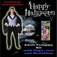 Adult Mens Vampire Halloween Costume Cape Vest Medallion S:Std FREE Vampire Kit