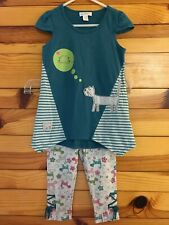 Naartjie Outfit Kitty Cat Tunic Top & Capri Leggings Pants Girls Size 4