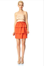 FCUK Bandeau Pleated Dress 12 Coral Pink Belted Ruch Cotton Party Smart Sexy