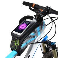 "RockBros Bike Frame Bag 5.8"" Touch Screen Waterproof Front Tube Cycling Bag Blue"