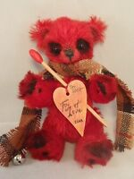 "TEDDY BEAR RED GERMAN MOHAIR JOINTED ""FIRE OF LOVE"" GERMAN ARTIST OOAK"