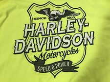 Mens 5XL Harley Davidson Hivis Speed And Power  Longsleeve Neon Green Shirt