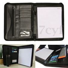 A4 Black Conference Manager Folder PU Portfolio Zipped Leather Look Organiser