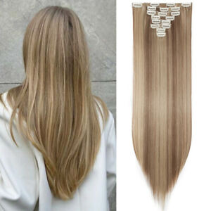 Long Full Head Hairpieces 18 Clips in Hair Extensions 8Pcs Straight Ash Blonde