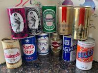 Lot Of 11 Vintage Beer Cans Steel Aluminum Pull Tab