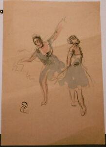 Drawing Original Watercolour Ink Paul Roofers - Les Danseuses - PC221