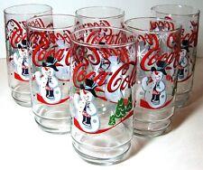 VTG NIB Coca-Cola Snowman Christmas Holiday Winter Glass Tumbler 16 oz Set of 6