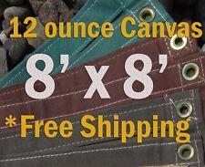 8 Ft. x 8 Ft. 12 Oz. Cotton Canvas Breathable Water Resistant Tarps