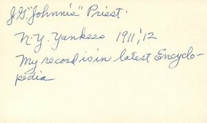 J. G. Johnnie Priest 1911 New York Yankees Signed 3x5 Index Card with JSA COA
