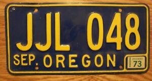 SINGLE OREGON LICENSE PLATE - 1973 - JJL 048