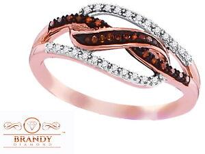 Brandy Diamond® Chocolate Brown 10K Rose Gold Delicate Design Ring .15 Ct