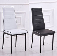 Modern Dining Chair Black/White Contrast Piping Faux Leather Kitchen Restaurant