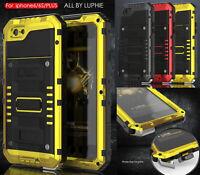 Wasserdicht Metall Glas Case Schutz Hülle Full Cover Tasche Für iPhone 7 6 Plus