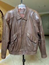 Mens Leather Bomber Jacket Brown Sz 38 L/XL Super Cool Expressions International