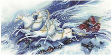 Magical Sleigh Ride Christmas Holiday Santa Counted Cross Stitch Kit By Riolis