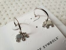 NWT Alex and Ani Elephant Strength Hoop Sterling Silver Earrings
