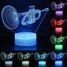 Trumpet 3D Illusion LED Night Light Table Party Battery USB Lamp Xmas Kids Gift