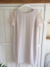 THE WHITE COMPANY Palest Pink Lace Sleeve Shift Wedding Dress, UK 12, BNWT £139