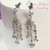 18K White Gold GP Simulated Diamond Elegant Chandelier Wedding Bridal Earrings