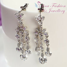 18K White Gold GP Simulated Diamond Elegant Chandelier Wedding Bridal Earrings