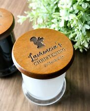 Mini Personalised Engraved Wooden Lid Christening Favours Soy Candles in a Jar